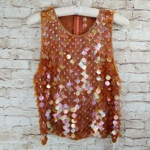 vintage silk sequined top XL NWT amber color